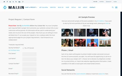 Screenshot of Contact Page maijintheartist.com - Contact | Hire Â« Drew Lewis: Visual Artist & Concept Designer - captured Nov. 2, 2014
