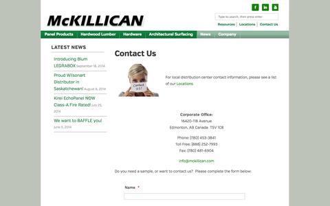 Screenshot of Contact Page mckillican.com - Contact Us | McKillican - captured Oct. 4, 2014