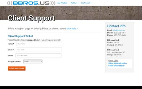 Screenshot of Support Page bbros.us - Client Support | BBros.us - captured Oct. 4, 2018