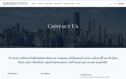 Screenshot of Contact Page marathon-cap.com - Get in Touch with an Energy Investment Banker | Marathon Capital - captured Oct. 16, 2018