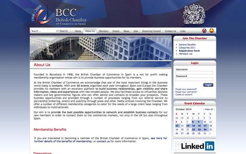 Screenshot of About Page britishchamberspain.com - British Chamber of Commerce in Spain - About Us - captured Oct. 5, 2014