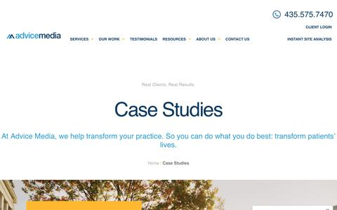 Screenshot of Case Studies Page advicemedia.com - Case Studies Archive - Advice Media - captured Feb. 9, 2020