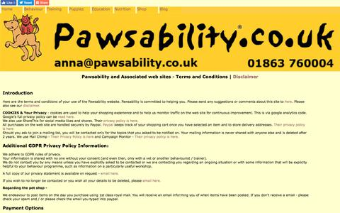 Screenshot of Terms Page pawsability.co.uk - Pawsability Terms and Conditions and Privacy Statements - captured July 16, 2018