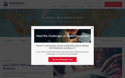 Screenshot of Blog globalization-partners.com - Blog | Globalization Partners - captured June 2, 2018
