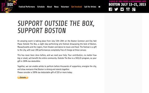 Screenshot of Support Page outsidetheboxboston.org - Support Outside the Box, Support Boston | Outside The Box - captured Oct. 7, 2014