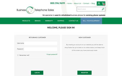 Screenshot of Login Page businesstelephone.com - Login - Business Telephone Sales - captured Sept. 22, 2018