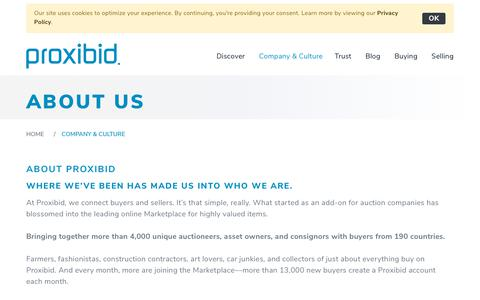 Screenshot of About Page proxibid.com - About Us - captured Oct. 21, 2018