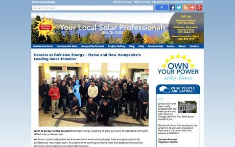 Screenshot of Jobs Page revisionenergy.com - Jobs in Solar New Hampshire - Maine Renewable Energy Career Opportunities - captured Oct. 6, 2014