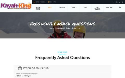 Screenshot of FAQ Page kayak-king.com - Frequently asked questions - Kayak-King tours Pembrokeshire, Wales. - captured Nov. 6, 2018