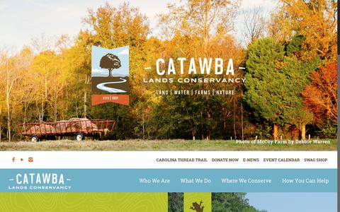 Screenshot of Home Page catawbalands.org - Home | Catawba Lands Conservancy - captured Dec. 13, 2018