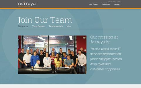 Screenshot of Testimonials Page astreya.com - Join Our Team | Astreya - captured Sept. 30, 2014