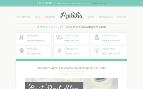 Screenshot of Blog aeolidia.com - Aeolidia Blog: your creative business toolbox - captured Oct. 23, 2014