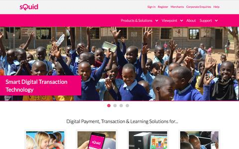 Screenshot of Home Page squidcard.com - sQuid: Digital Transactions | Cashless Payments | Learning Solutions - captured Nov. 12, 2016