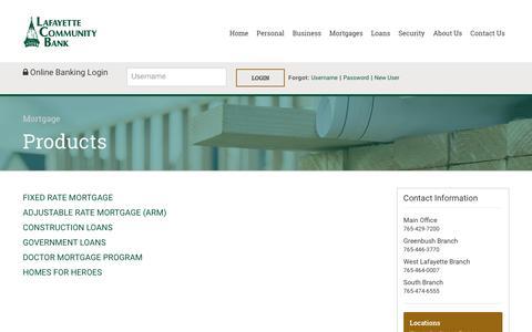 Screenshot of Products Page lafayettecommunitybank.com - Lafayette Community Bank - captured May 13, 2017