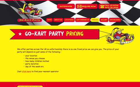 Screenshot of Pricing Page go-kartparty.co.uk - Pricing » GoKart Party - captured Sept. 30, 2014