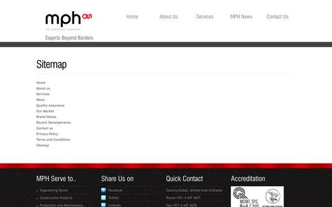 Screenshot of Site Map Page mphglobalservices.com - Sitemap of MPH Global Services Website.. MPH is an ASSYSTEM Company, United Arab Emirates. - captured Sept. 19, 2014