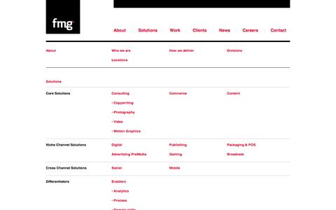 Screenshot of Site Map Page groupfmg.com - Group FMG – Specialty Point Services, Integrated Media/Marketing Solutions, Outcome based Services - captured Sept. 24, 2014