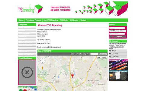 Screenshot of Contact Page ty3branding.co.uk - Contact - captured Oct. 6, 2014