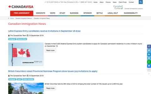 Screenshot of Press Page canadavisa.com - Canadian Immigration News - Canadavisa.com - captured Sept. 23, 2019