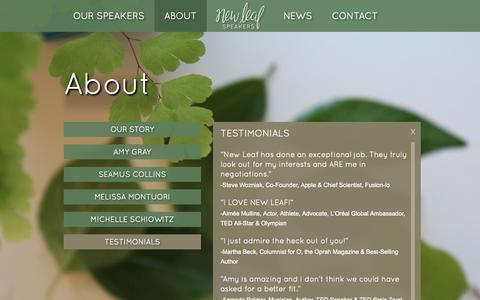 Screenshot of Testimonials Page newleafspeakers.com - Testimonials from Aimee Mullins, Steve Wozniak, Martha Beck, Amanda Palmer, and Whitney Johnson | New Leaf Speakers - captured Nov. 3, 2014