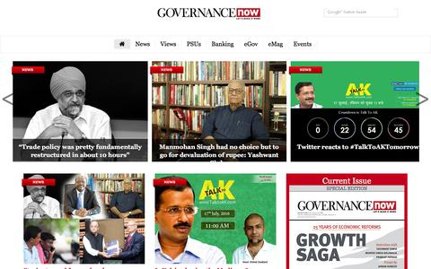 Screenshot of Home Page governancenow.com - Governance Now | Of policies & politics - captured July 16, 2016