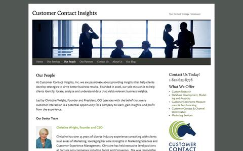 Screenshot of Team Page ccicrm.com - Our People | Customer Contact Insights - captured Oct. 3, 2014