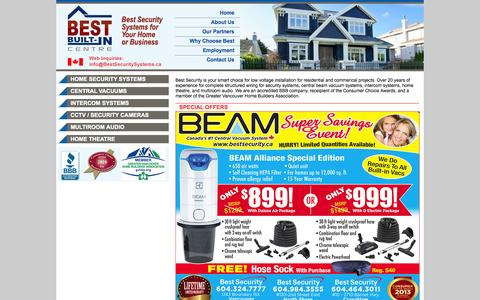 Screenshot of Home Page bestsecurity.ca - Best Security, Best Beam Vaccuums, Best Security Systems Vancouver, BC - captured Oct. 5, 2014