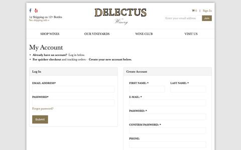 Screenshot of Login Page delectuswinery.com - Register or Login | Delectus Winery - captured June 4, 2017