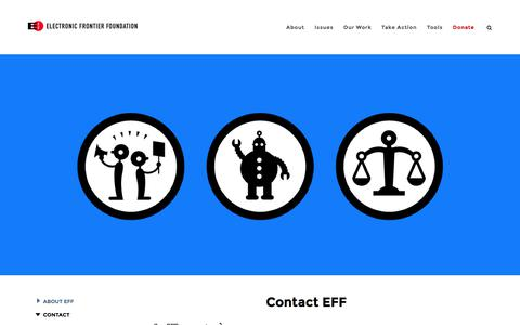 Screenshot of Contact Page eff.org - Contact EFF | Electronic Frontier Foundation - captured Oct. 11, 2017