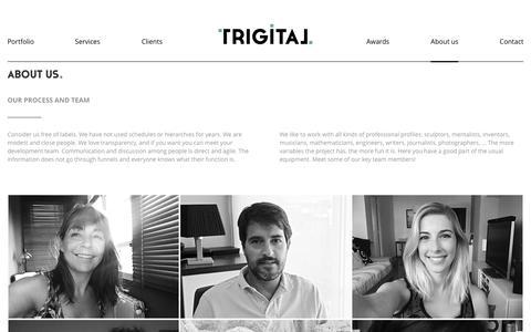 Screenshot of About Page trigital.org - About us - Creative communication - Trigital - captured Nov. 9, 2017