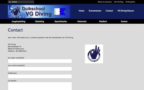 Screenshot of Contact Page vgdiving.nl - Contact – VG Diving - captured March 12, 2017