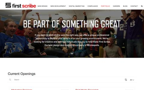 Screenshot of Jobs Page firstscribe.com - Web Design Jobs, SEO Jobs | Web Design Minneapolis | First Scribe - captured July 1, 2019