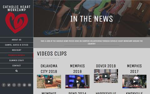 Screenshot of Press Page heartworkcamp.com - In The News - Catholic HEART Workcamp - captured Sept. 25, 2018