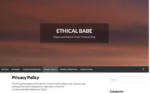 Screenshot of Privacy Page ethicalbabe.com - Privacy Policy | Ethical Babe - captured Dec. 12, 2015