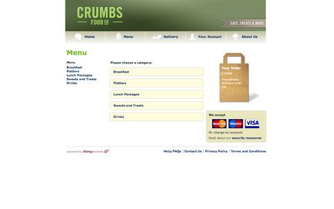 Screenshot of Menu Page crumbsreading.com - Crumbs - menu - captured Sept. 30, 2014