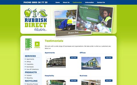 Screenshot of Testimonials Page rubbishdirect.co.nz - Waste collection - offices, apartments, businesses, hospitality - Auckland - Rubbish Direct - captured Oct. 7, 2014