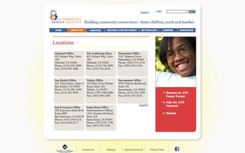 Screenshot of Contact Page Locations Page afs4kids.org - Locations | AFS - captured Oct. 23, 2014
