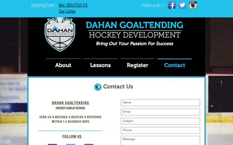 Screenshot of Contact Page dahanhockey.ca - Dahan Goaltending - Hockey Goalie Training - captured Nov. 23, 2016