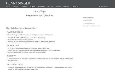 Screenshot of FAQ Page henrysinger.com - Frequently Asked Questions | Henry Singer - captured Sept. 29, 2014