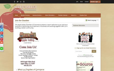 Screenshot of Signup Page avchamber.org - Join the Chamber - Apple Valley Chamber of Commerce - captured Feb. 6, 2016