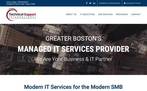 Screenshot of Home Page tsisupport.com - Greater Boston's Managed IT Services Provider Since 1989 | TSI Support - captured Nov. 16, 2018