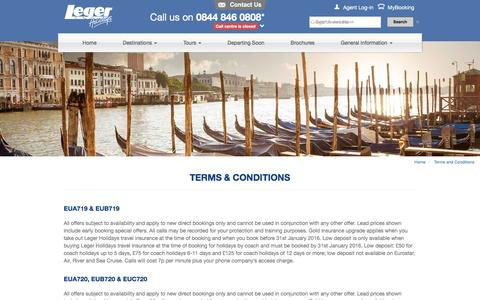 Screenshot of Terms Page leger.co.uk - Terms & Conditions | Leger Holidays - captured Jan. 17, 2016