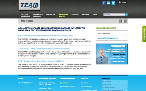 Screenshot of Case Studies Page teamoiltools.com - Oilfield Drilling Tools, Products & Technologies Case Studies - captured Oct. 7, 2014