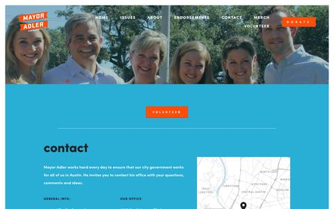 Screenshot of Contact Page adlerforaustin.com - Contact — Re-Elect Adler for Austin - captured Oct. 25, 2018