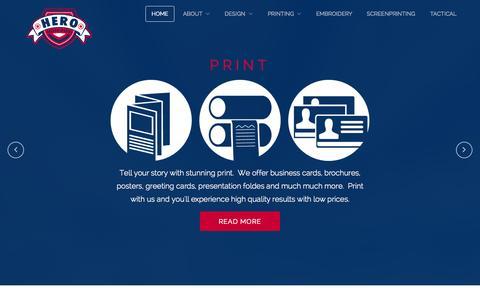 Screenshot of Home Page herodesignworks.com - Home - Hero Design Works - captured Sept. 30, 2014