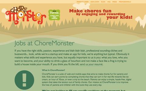 Screenshot of Jobs Page choremonster.com - Jobs at ChoreMonster | ChoreMonster - captured Dec. 17, 2014