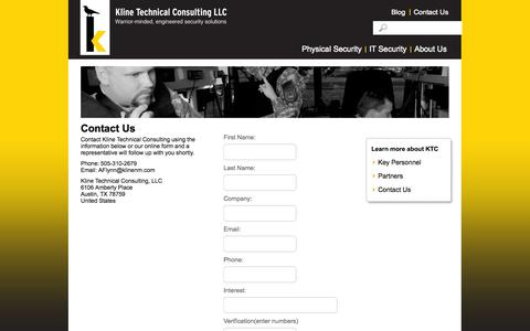 Screenshot of Contact Page klinenm.com - Contact Us | Kline Technical Consulting - captured Oct. 6, 2014