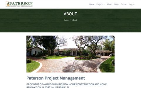 Screenshot of About Page patersondevelopment.com - About | New Home Construction and Home Renovations | Paterson Management - captured Sept. 29, 2016