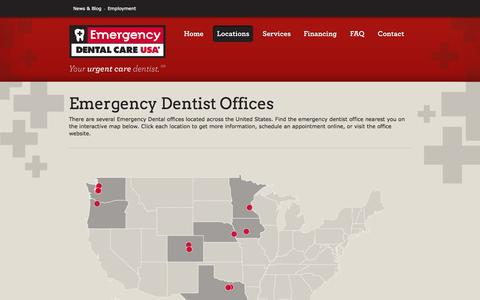 Screenshot of Locations Page emergencydental.com - Emergency Dental Care USA Offices - captured Oct. 2, 2014