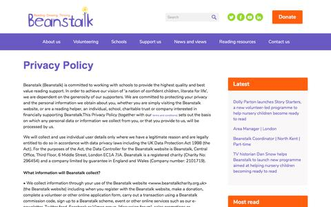 Screenshot of Privacy Page beanstalkcharity.org.uk - Beanstalk | Privacy Policy - captured Oct. 10, 2017